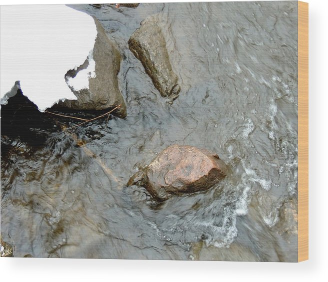Snow Wood Print featuring the photograph Rocks Snow And Water by Amalia Jonas