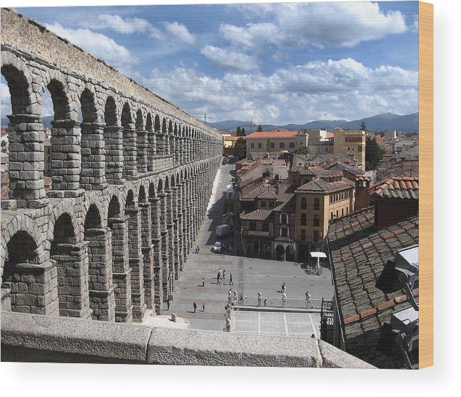Roman Wood Print featuring the photograph Roman Aqueduct I by Farol Tomson