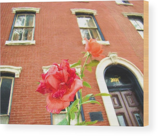 Rose Wood Print featuring the photograph Rose On Brownstone by Alice Gipson