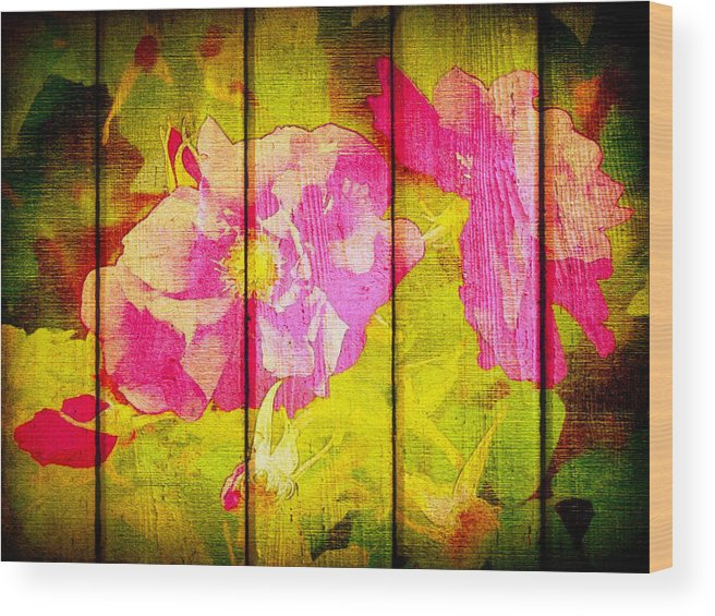 Wood Print featuring the digital art Roses On Wood by Kilmeny Boates