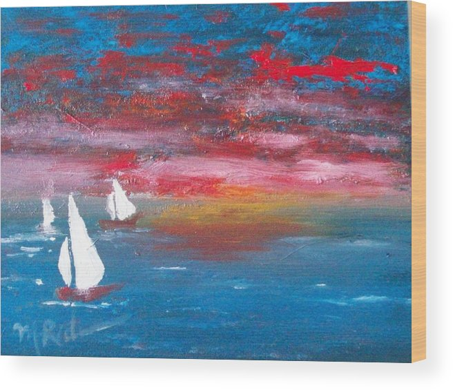 Sailbaots Wood Print featuring the painting Sailor's Delight by Margie Ridenour