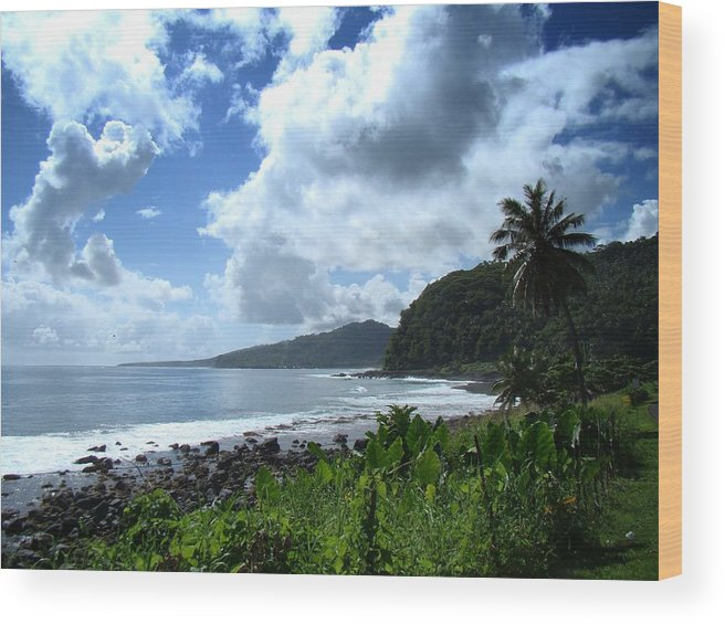 Tranquil Wood Print featuring the photograph Samoan Coastline by David and Mandy