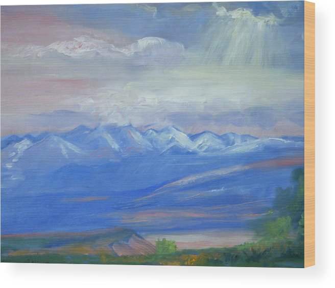 Colorado Wood Print featuring the painting San Juan Mountains Colorado by Patricia Kimsey Bollinger