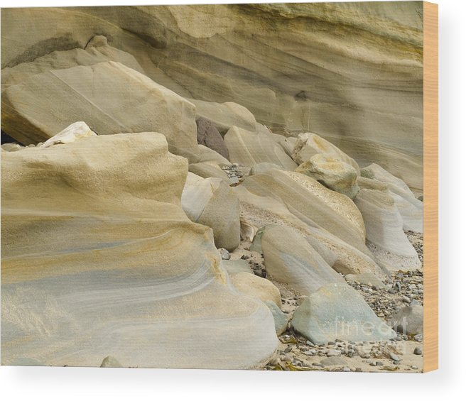 Banded Wood Print featuring the photograph Sandstone Sediment Smoothed And Rounded By Water by Stephan Pietzko