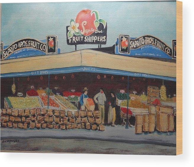 Saprito Wood Print featuring the painting Saprito Bros. Fruit Company by Robert Raymond