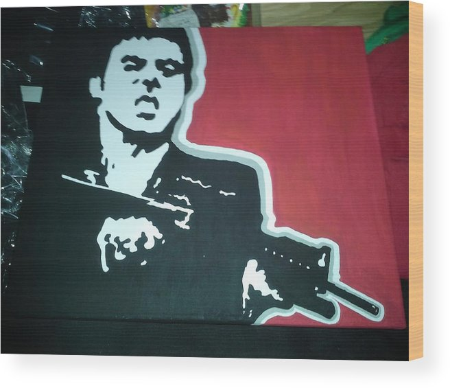 Scarface Pop Art Gun Actor Wood Print featuring the mixed media Scarface by Roberto Castillo