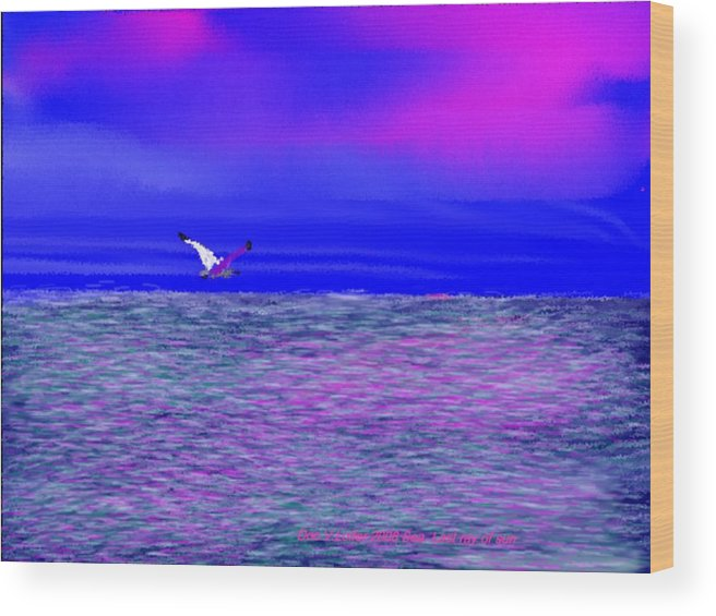 Evening.sky.clouds.sunrays.sun.sunset.sea.waves.colors.blue.pink.red.dark Blue Wood Print featuring the digital art Sea. Last Rays Of Sun by Dr Loifer Vladimir