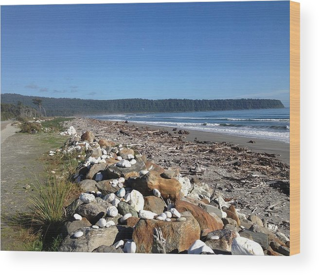 Sea Wood Print featuring the photograph Sea Shore With Rocks by Ron Torborg