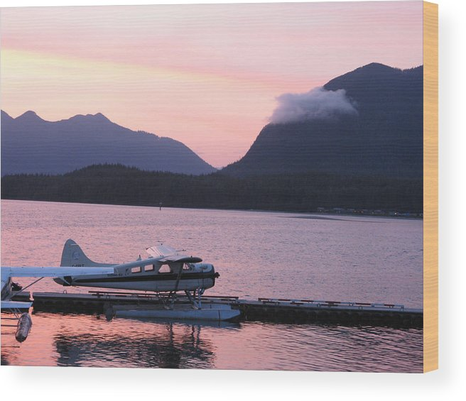 Sea Plane Wood Print featuring the photograph Seaplane And Cloud by Patricia Januszkiewicz