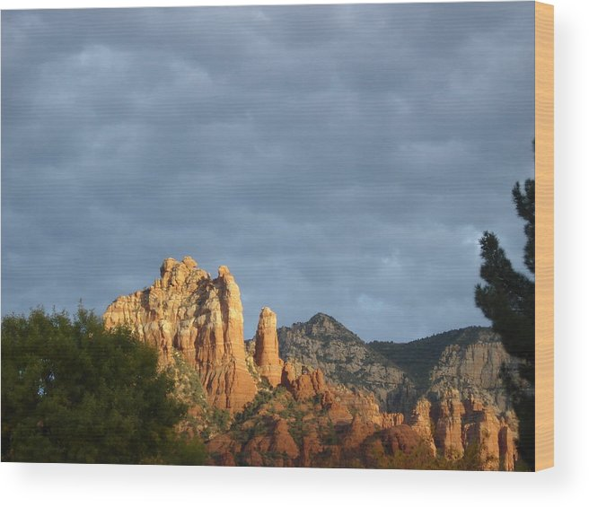 Sedona Mountains Wood Print featuring the photograph Sedona Illumated Mountains by Lisa Weber