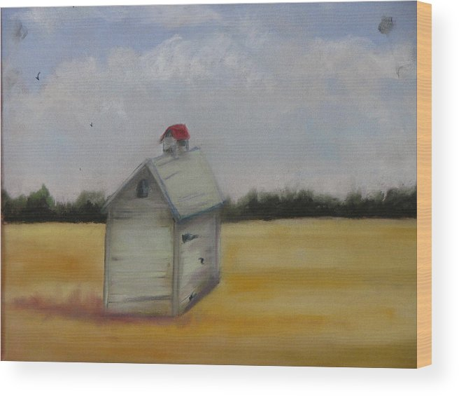 Yellow Wood Print featuring the pastel Shed On Yellow Field by Iris Nazario Dziadul