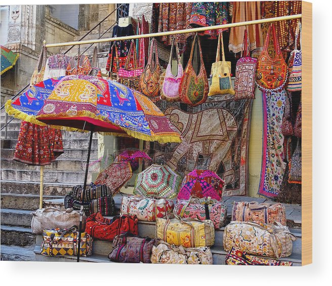 0085d5171a9e Shopping Wood Print featuring the photograph Shopping Colorful Bags Sale  Jaipur Rajasthan India by Sue Jacobi