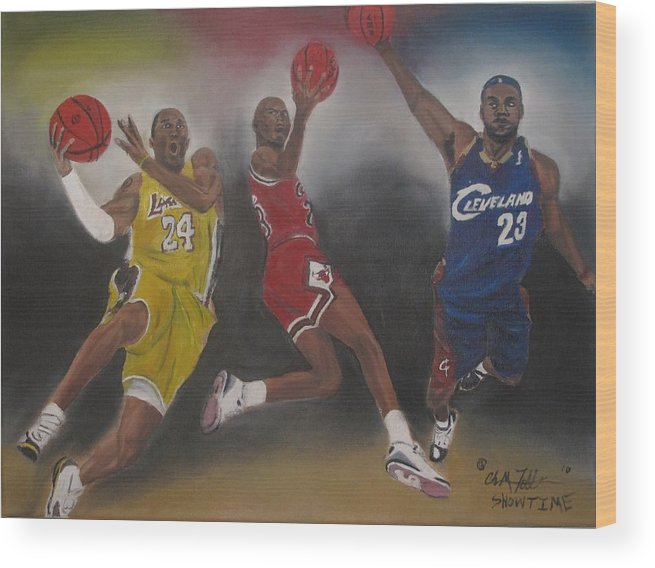 Micheal Jordan Art Wood Print featuring the painting Showtime by ChrisMoses Tolliver