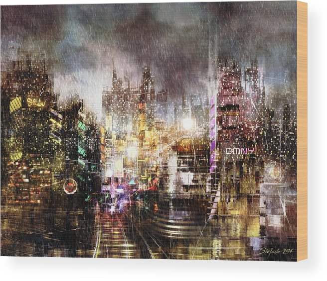 Art Wood Print featuring the painting Sin City II by Stefano Popovski