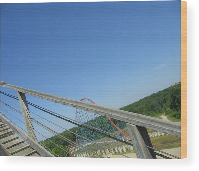 Six Wood Print featuring the photograph Six Flags America - Roar Roller Coaster - 12122 by DC Photographer