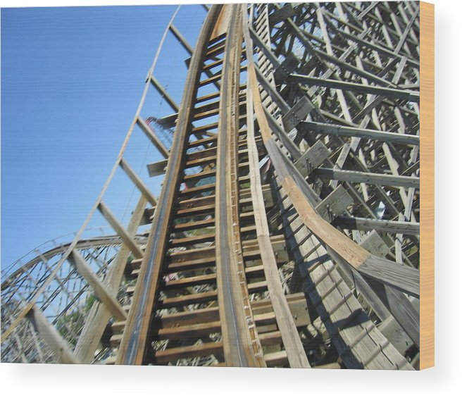 Six Wood Print featuring the photograph Six Flags America - Roar Roller Coaster - 12123 by DC Photographer