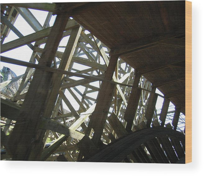 Six Wood Print featuring the photograph Six Flags America - Roar Roller Coaster - 12126 by DC Photographer
