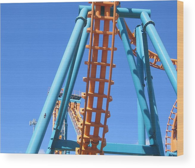 Six Wood Print featuring the photograph Six Flags America - Two-face Roller Coaster - 12122 by DC Photographer