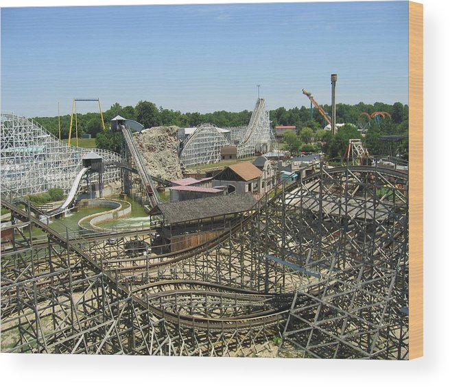 Six Wood Print featuring the photograph Six Flags America - Wild One Roller Coaster - 121210 by DC Photographer