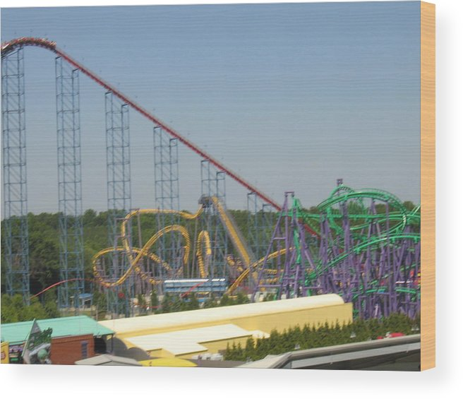 Six Wood Print featuring the photograph Six Flags America - Wild One Roller Coaster - 12123 by DC Photographer