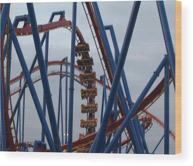 Six Wood Print featuring the photograph Six Flags Great Adventure - Medusa Roller Coaster - 12125 by DC Photographer