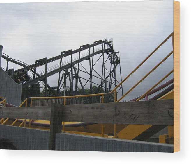 Six Wood Print featuring the photograph Six Flags Great Adventure - Nitro Roller Coaster - 12122 by DC Photographer