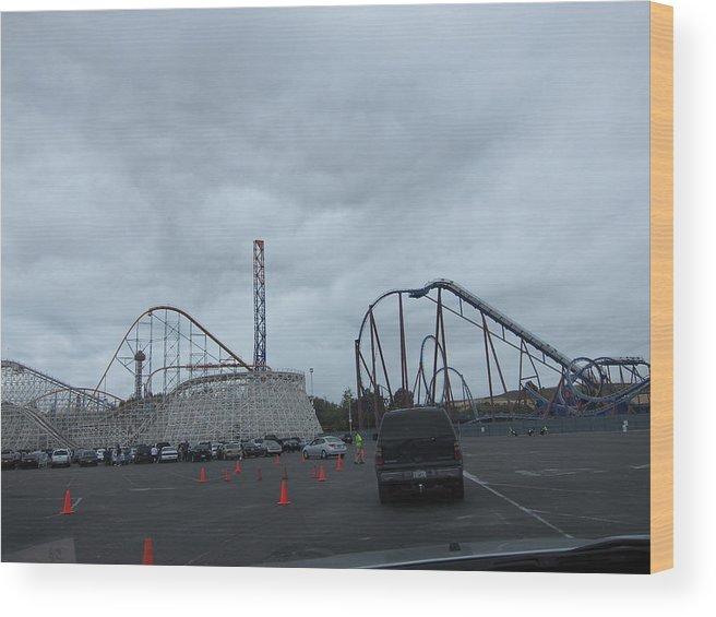 Six Wood Print featuring the photograph Six Flags Magic Mountain - 12121 by DC Photographer