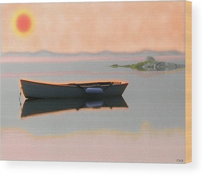 Landscape Wood Print featuring the digital art Skiff by Thomas Rehkamp