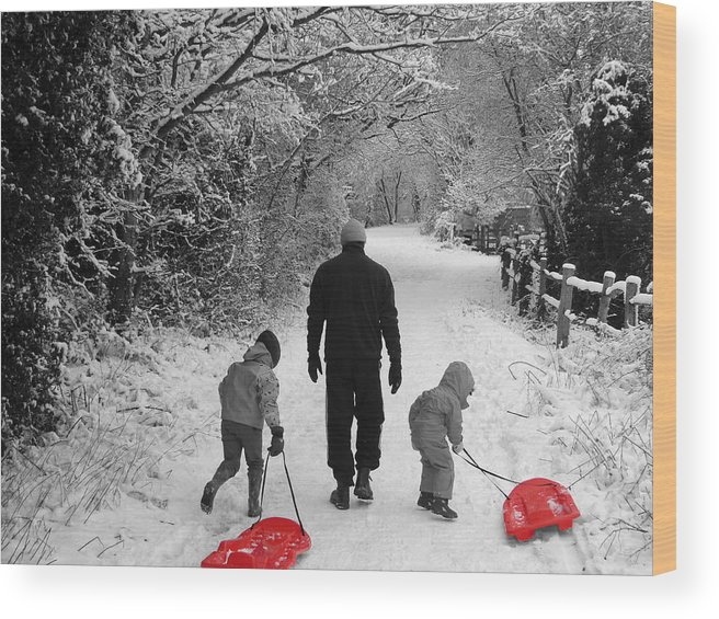 Winter Wood Print featuring the photograph Sledding With Dad by Vanessa Thomas