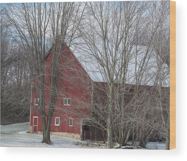 Snow Wood Print featuring the photograph Snow On Red Barn Roof by Tina M Wenger