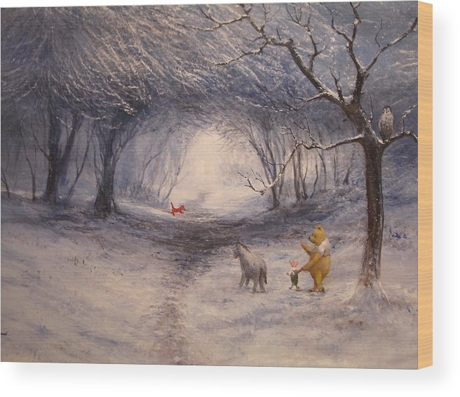 Snow Wood Print featuring the painting Snow by Tian Chen