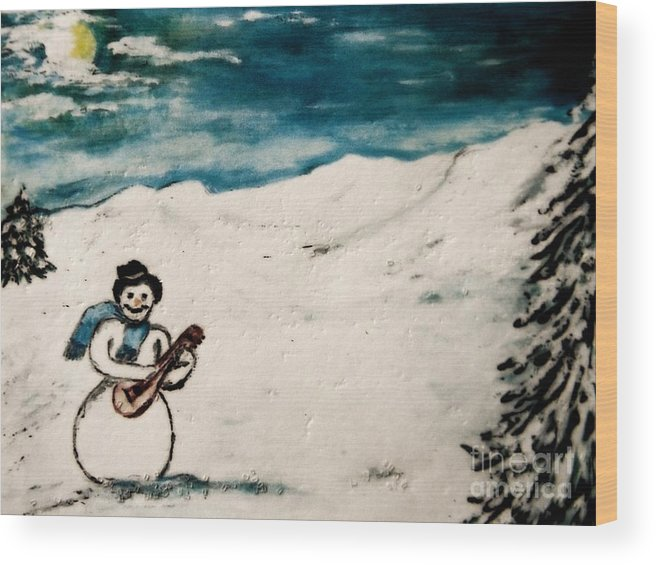 #snowman Wood Print featuring the painting Snowman by Kathleen W Jones