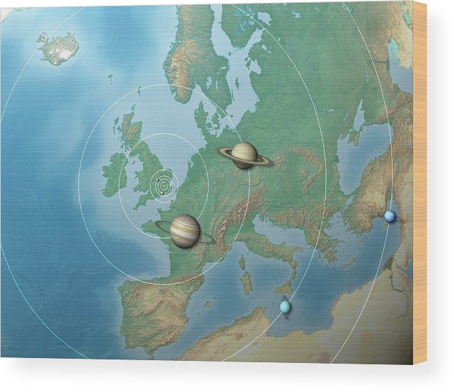 Art Wood Print featuring the photograph Solar System Compared To Europe by Mark Garlick/science Photo Library