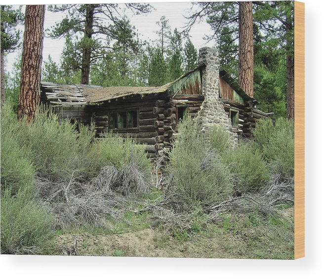 Old Buildings Wood Print featuring the photograph Sprague River Cabin by Ray Finch