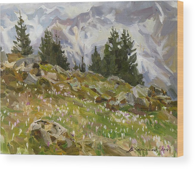 Mountains Wood Print featuring the painting Spring On A Northern Slope by Victoria Kharchenko
