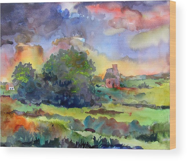 Rain Thunderstorm Spring May April June Contrasting Color Complementary Color Farm Fields Grass Foliage Landscape Scenery Nature Midwest Indiana Wood Print featuring the painting Spring Storm by James Huntley