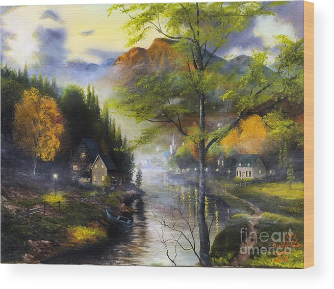 Mountain Wood Print featuring the painting Spring Valley by David Rhodes