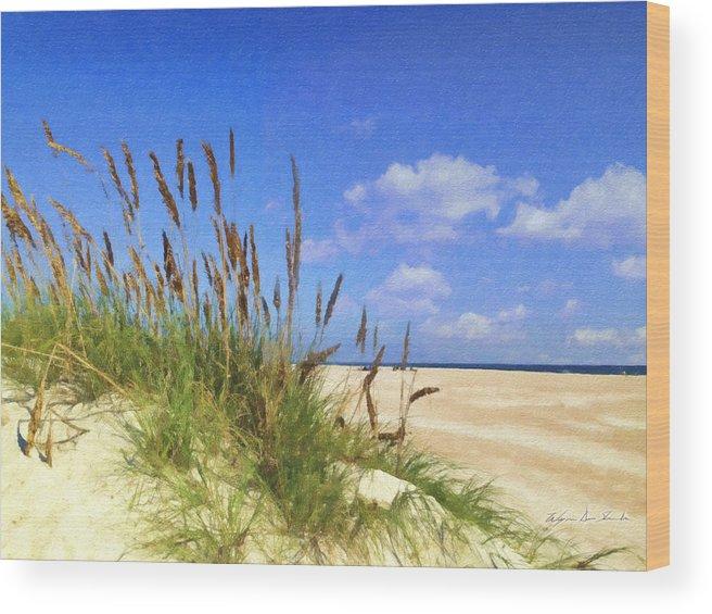 Beach Wood Print featuring the painting St Augustine Beach Grass by Wynn Davis-Shanks