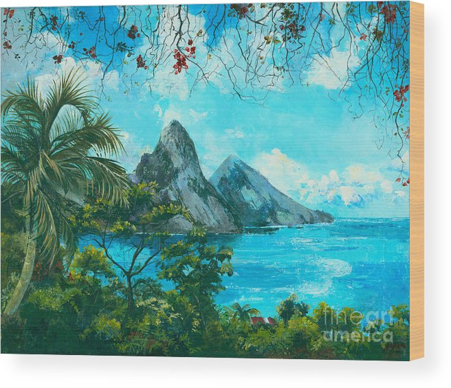 Mountains Wood Print featuring the painting St. Lucia - W. Indies by Elisabeta Hermann