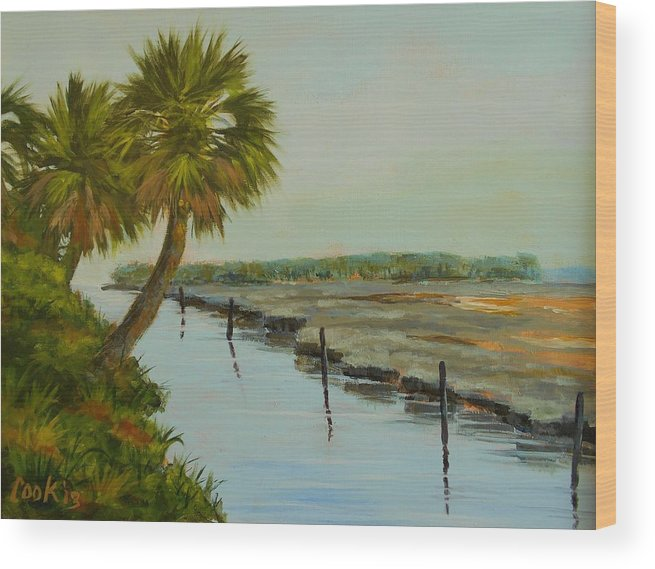 Palm Trees Wood Print featuring the painting St. Marks Refuge by Michael Cook