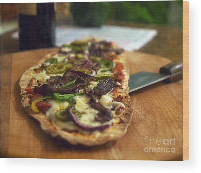 Pizza Wood Print featuring the photograph Steak And Cheese by John Lombardi