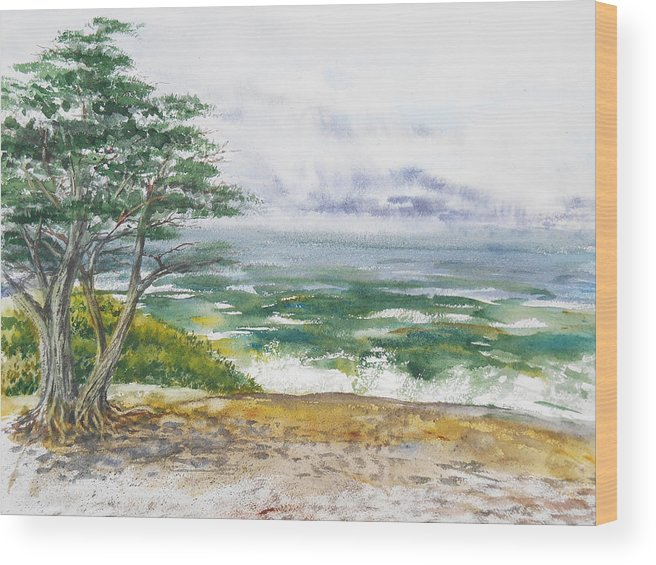 Seascape Wood Print featuring the painting Stormy Morning At Carmel By The Sea California by Irina Sztukowski