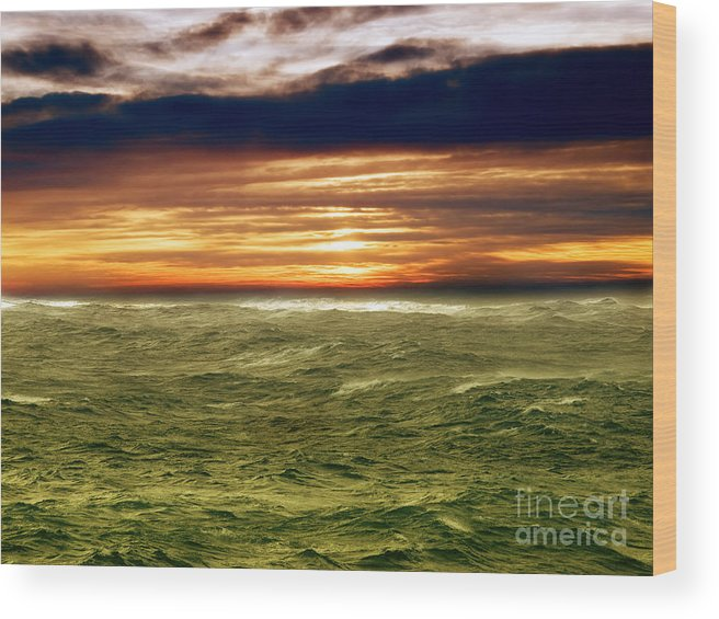 Wind Wood Print featuring the photograph Stormy Sea by Sinisa Botas