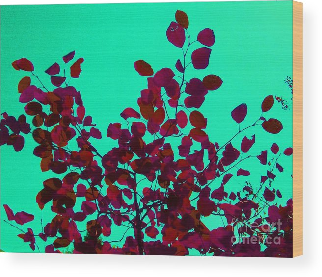 Leaves Wood Print featuring the photograph Stunning Red On Blue Sky by Tahlula Arts