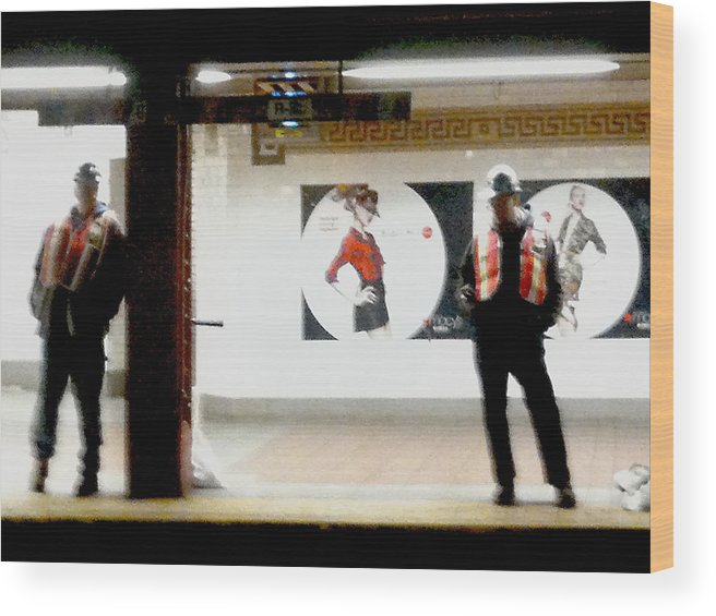 Nyc Subway Wood Print featuring the photograph Subway Workers by Mieczyslaw Rudek