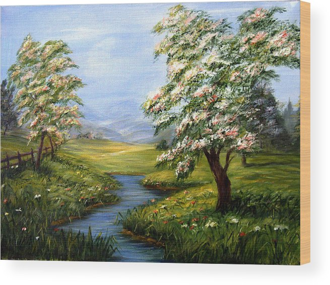 Summer Walk Wood Print featuring the painting Summer Fields by Inna Bredereck