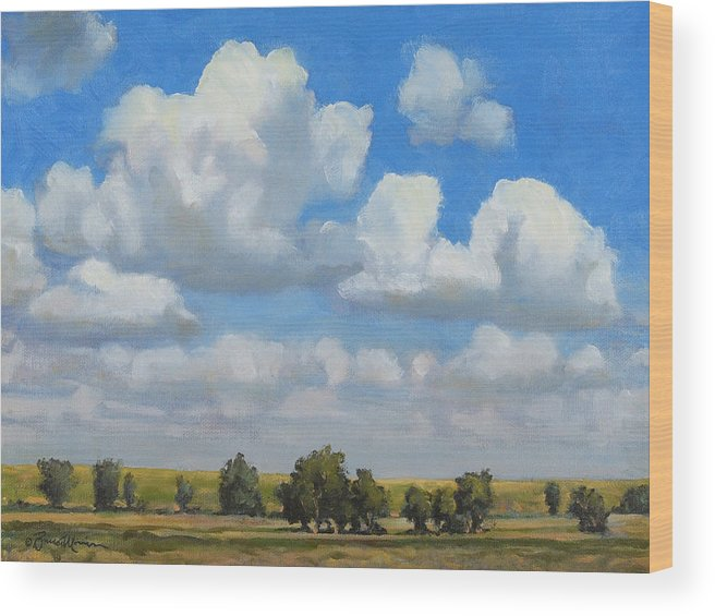 Landscape Wood Print featuring the painting Summer Pasture by Bruce Morrison