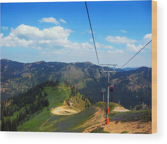 Photograph Wood Print featuring the digital art Summertime Chairlift Ride by Kathy Moll