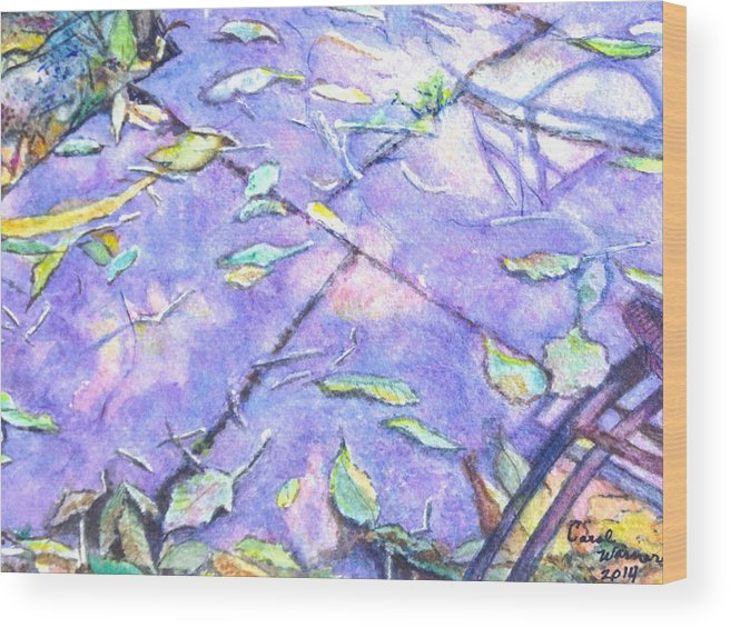 Leaves Wood Print featuring the painting Sun On A Fall Day by Carol Warner