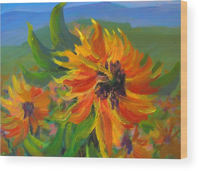 Still-life Wood Print featuring the painting Sunflower by Ali Amini